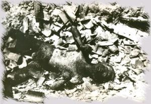 Kesan keganasan komunis di Bukit Kepong.